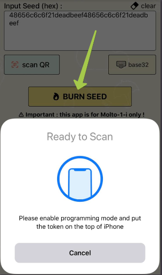 Molto-1-i NFC Burner app for iPhone