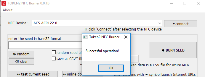 Token2 NFC Burner app for Windows